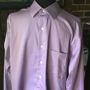 Geoffrey Beene Reg-Fit Stripe Dress Shirt-Purple
